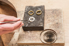Soldering of golden rings 1 Stock Photography