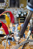Soldering iron on electronic boards Royalty Free Stock Image