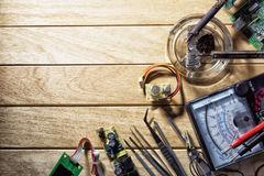Soldering iron and other tools for soldering electronic boards Stock Image