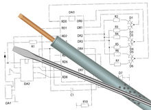 Soldering iron, screwdriver and electronic circuit Stock Images