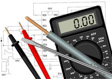 Soldering iron screwdriver and multimeter Stock Image