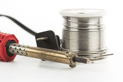 Soldering iron soldering wire Stock Image