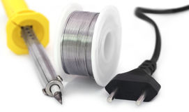 Soldering iron with spool of solder Stock Photography