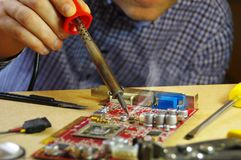 Soldering man royalty free stock photo