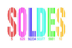 Soldes,意味销售用法语,彩虹条形码 图库摄影