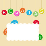Soldes. Colorful tags with the word Rebajas ( in spanish Stock Images