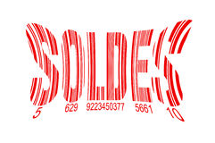 Soldes, meaning sales in French, red barcode isolated on white Stock Images