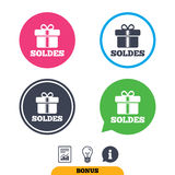 Soldes - Sale in French sign icon. Gift. Royalty Free Stock Photo