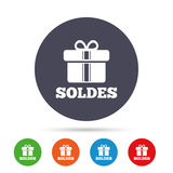 Soldes - Sale in French sign icon. Gift. Stock Images