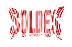 Soldes, signifiant des ventes dans code barres français et rouge d'isolement sur le blanc Images stock