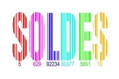 Soldes, signifiant des ventes en français, code barres d'arc-en-ciel Photographie stock