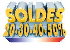 Soldes und Frankreich-Markierungsfahne Stockfotos