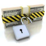 soldi 3D e serratura. Concetto di protezione dei dati. Immagine Stock