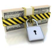 soldi 3D e serratura. Concetto di protezione dei dati. Immagine Stock Libera da Diritti