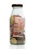 Soldi in bottiglia Immagini Stock Libere da Diritti