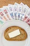 Soldi britannici, pezzo di pane sul piatto Bilancio dell'alimento Immagini Stock Libere da Diritti