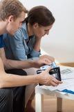 Soldi calcolatori per il pagamento delle fatture Immagine Stock Libera da Diritti