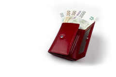 Soldi cechi dal lato positivo in portafoglio rosso Fotografie Stock Libere da Diritti