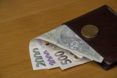 Soldi cechi sul portafoglio Fotografia Stock Libera da Diritti