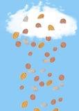 Soldi che cadono dal cielo Fotografia Stock