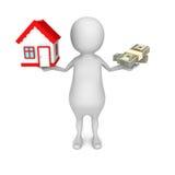 Soldi choice o casa dell'uomo bianco 3d nell'equilibrio Fotografia Stock