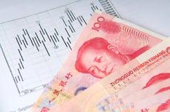 Soldi cinesi con il diagramma di riserva Immagine Stock