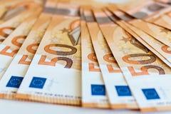Soldi Cinquanta euro banconote fotografia stock