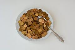 Soldi come alimento crudo Fotografie Stock