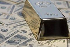 Soldi, contanti, verga d'oro Fotografia Stock Libera da Diritti