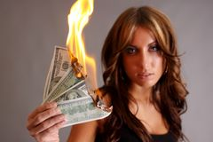 Soldi da bruciare Immagine Stock Libera da Diritti