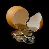Soldi dall'uovo Immagini Stock