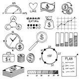 Soldi degli elementi di scarabocchio di tiraggio della mano ed icona della moneta, Fotografia Stock Libera da Diritti