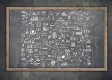 Soldi degli elementi di scarabocchio di tiraggio della mano ed icona della moneta, Immagine Stock Libera da Diritti