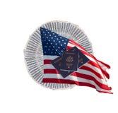 Soldi degli Stati Uniti con i passaporti degli Stati Uniti e la bandierina degli Stati Uniti Fotografia Stock Libera da Diritti