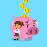 Soldi dei guadagni della donna del fumetto con il porcellino rosa Immagini Stock