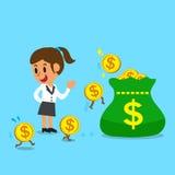 Soldi dei guadagni della donna di affari del fumetto di concetto di affari Immagine Stock