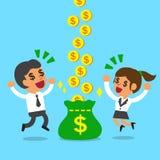 Soldi dei guadagni della donna di affari e dell'uomo d'affari insieme Fotografia Stock