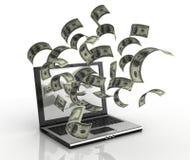 Soldi dei guadagni sopra il Internet Immagine Stock