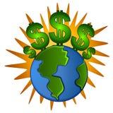 Soldi dei simboli di dollaro dei contanti della terra Fotografia Stock Libera da Diritti