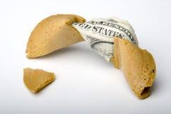 Soldi del biscotto di fortuna Fotografia Stock Libera da Diritti