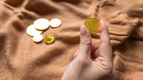 Soldi del cioccolato, monete di oro del cioccolato Immagine Stock Libera da Diritti
