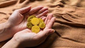 Soldi del cioccolato, monete di oro del cioccolato Fotografia Stock Libera da Diritti