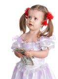 Soldi del dollaro della holding del bambino. Immagine Stock Libera da Diritti