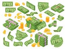 Soldi del fumetto La pila delle banconote delle banconote in dollari, il mucchio di dollari e la banconota ammucchiano Insieme de Immagine Stock Libera da Diritti