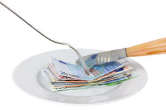 Soldi dell'alimento Immagini Stock Libere da Diritti