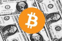 Soldi dell'icona di Bitcoin Cryptocurrency fotografia stock