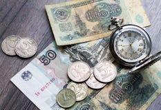 Soldi dell'URSS, Russo, tempo, ore Fotografia Stock
