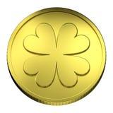 Soldi della moneta di oro, con il simbolo del trifoglio del Quattro-foglio Fotografia Stock Libera da Diritti