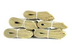 Soldi della pila della banconota del dollaro Fotografie Stock Libere da Diritti
