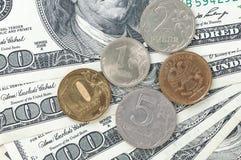Soldi della rublo e del dollaro Fotografie Stock